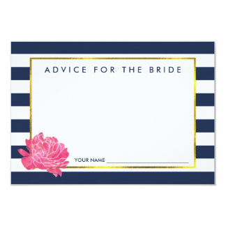 Advice for the Bride   Navy Stripe & Pink Peony Card