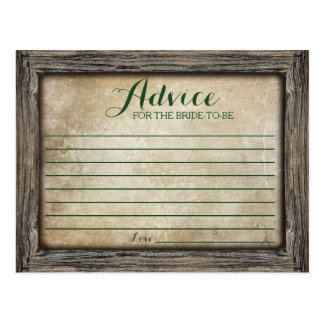 Advice for the Bride | Rustic Calligraphy Card Postcard