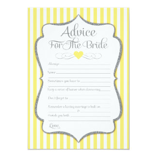 Advice For The Bride Yellow Gray Bridal Shower Card