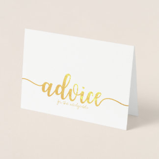 Advice for the Newlyweds Gold Foil Greeting Card