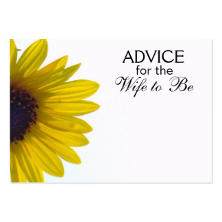 Advice for the Wife to Be Giant Sunflower Cards Pack Of Chubby Business Cards
