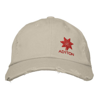 ADYTON.EU chino red Embroidered Hat