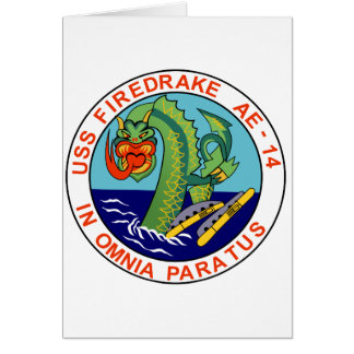 AE-14 USS Firedrake Ammunition Ship Military Patch Greeting Card