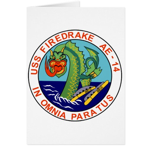 AE-14 USS Firedrake Ammunition Ship Military Patch Greeting Cards