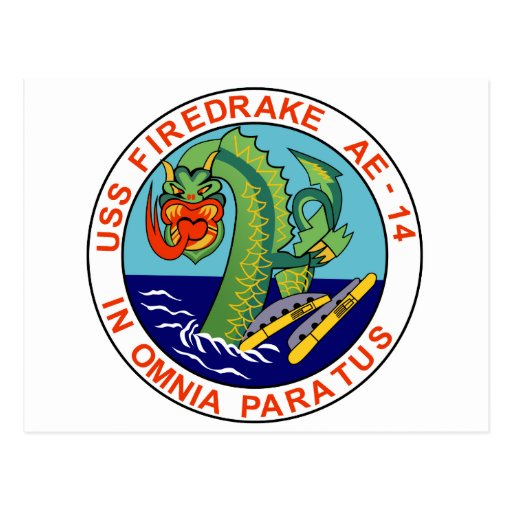 AE-14 USS Firedrake Ammunition Ship Military Patch Postcards