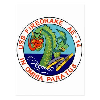 AE-14 USS Firedrake Ammunition Ship Military Patch Postcard