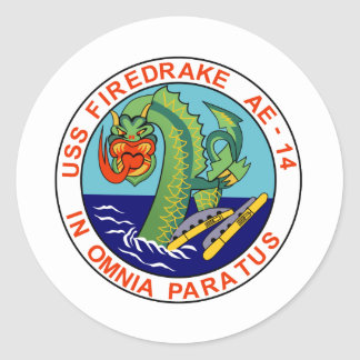 AE-14 USS Firedrake Ammunition Ship Military Patch Round Sticker