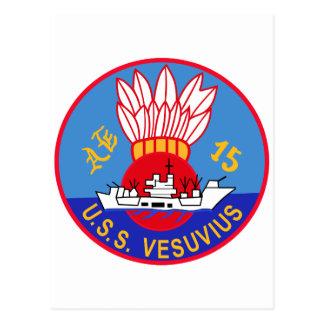 AE-15 USS Vesuvius Ammunition Ship Military Patch Postcard