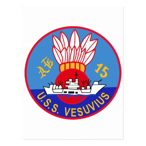 AE-15 USS Vesuvius Ammunition Ship Military Patch Post Card