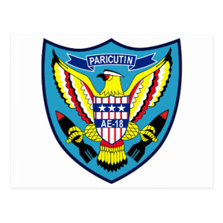 AE-18 USS PARICUTIN Ammunition Ship Military Patch Postcard