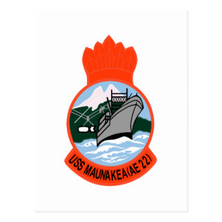 AE-22 USS Maunakea Ammunition Ship Military Patch Postcard