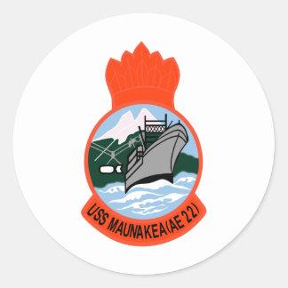 AE-22 USS Maunakea Ammunition Ship Military Patch Round Sticker
