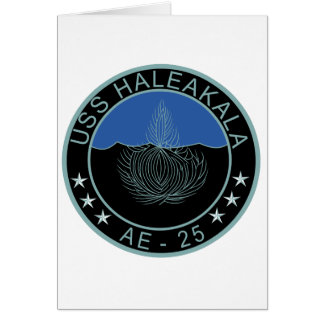 AE-25 USS Haleakala Ammunition Ship Military Patch Greeting Card