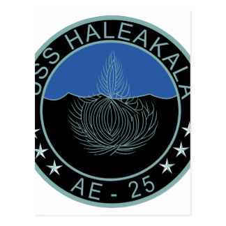 AE-25 USS Haleakala Ammunition Ship Military Patch Postcard