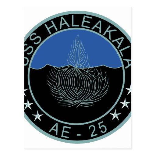 AE-25 USS Haleakala Ammunition Ship Military Patch Post Card