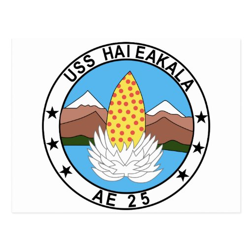 AE-25 USS Haleakala Ammunition Ship Military Patch Postcard