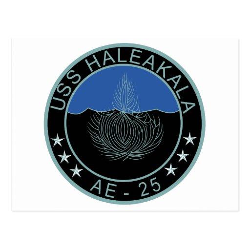 AE-25 USS Haleakala Ammunition Ship Military Patch Postcards