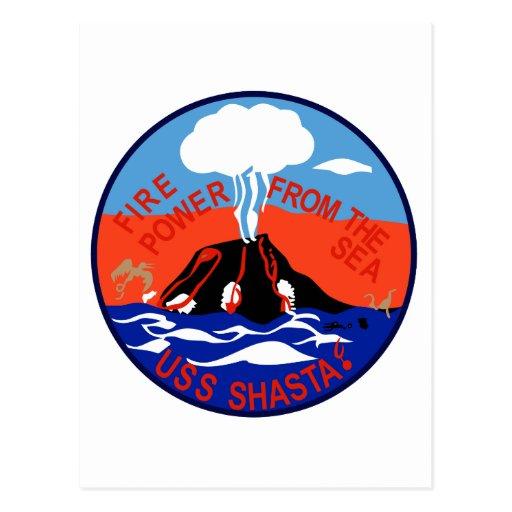 AE-33 USS Shasta Ammunition Ship Military Patch Post Card