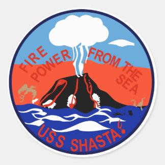 AE-33 USS Shasta Ammunition Ship Military Patch Round Sticker