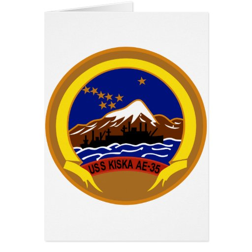 AE-35 USS Kiska Ammunition Ship Military Patch Greeting Cards