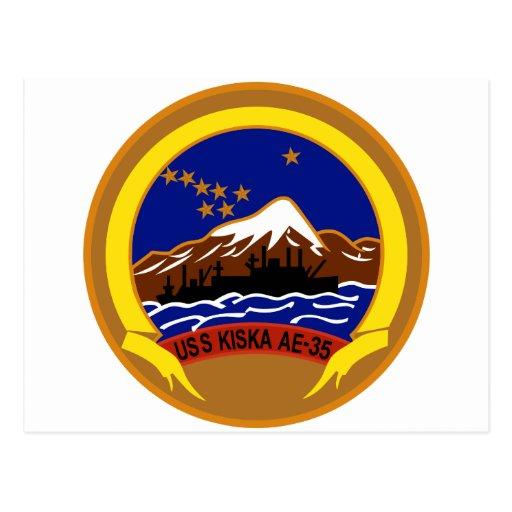 AE-35 USS Kiska Ammunition Ship Military Patch Postcards
