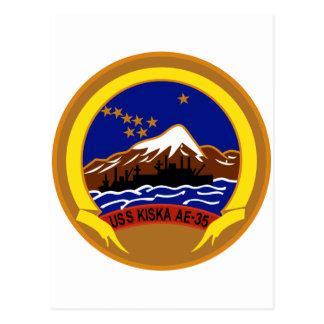 AE-35 USS Kiska Ammunition Ship Military Patch Postcard