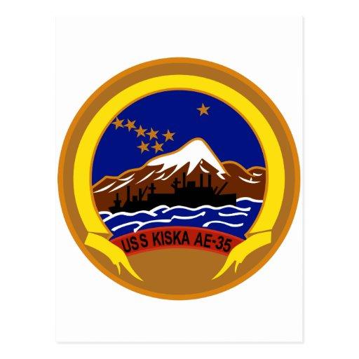 AE-35 USS Kiska Ammunition Ship Military Patch Post Cards