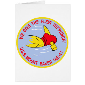 AE-4 USS MOUNT BAKER Ammunition Ship Military Patc Greeting Cards