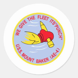AE-4 USS MOUNT BAKER Ammunition Ship Military Patc Round Sticker