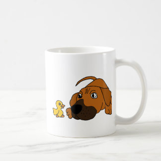 AE- Brown Puppy Dog with Rubber Duck Cartoon Basic White Mug