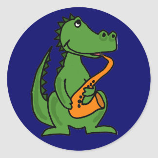 AE- Gator Playing the Saxophone Stickers