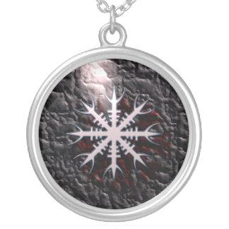 Aegishjalmur viking amulet charm silver plated necklace