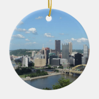 Aerial Downtown Pittsburgh Skyline Round Ceramic Decoration