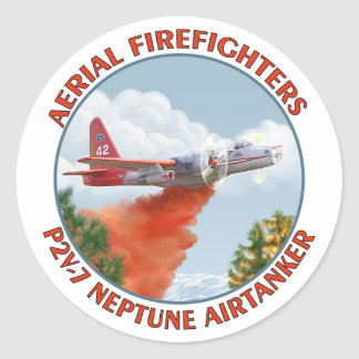 Aerial Firefighters P2V Round Stickers