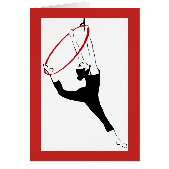 Aerial Hoop Classic Pose in Red & Black Note Card