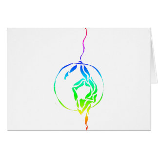 Aerial Hoop Foot to Head in Rainbow Card