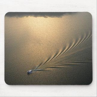 aerial image of boat in Lake Gatun Panama Mouse Mat