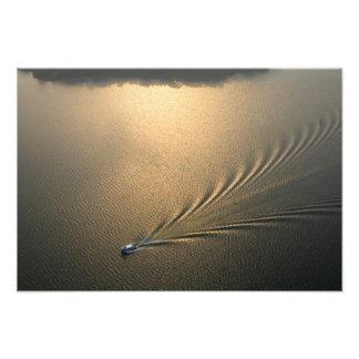 aerial image of boat in Lake Gatun Panama Photo Print