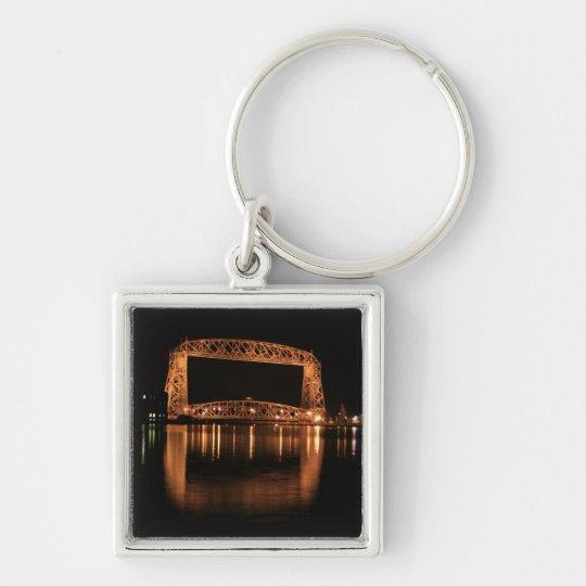 Aerial Lift Bridge at night Silver-Colored Square Key Ring