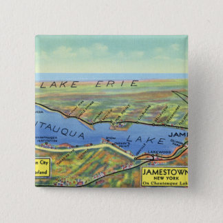 Aerial Map of Lake and Surrounding Towns 15 Cm Square Badge