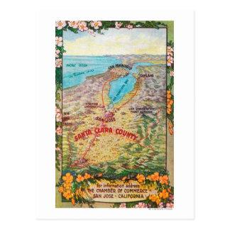 Aerial Map of Santa Clara County Postcard