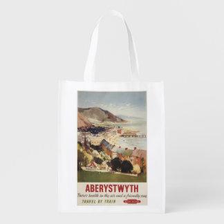 Aerial of Coast British Railways Poster Reusable Grocery Bag
