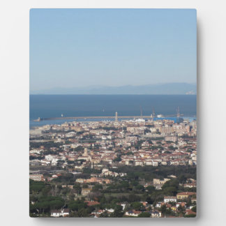 Aerial panorama of Livorno city Tuscany Italy Plaque