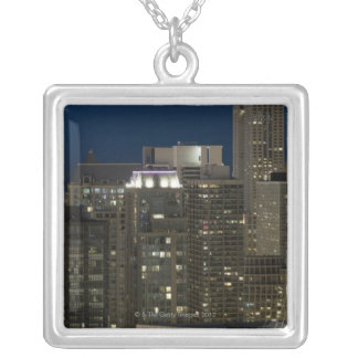 Aerial panoramic view of buildings in Chicago's Silver Plated Necklace