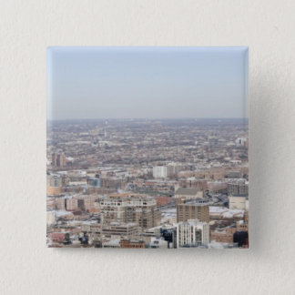 Aerial panoramic view of Chicago's north and 15 Cm Square Badge