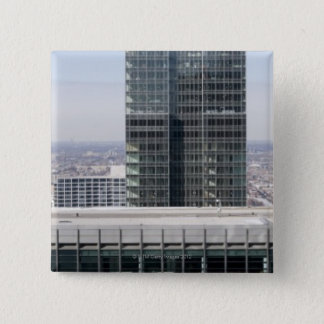 Aerial panoramic view of Chicago's west side 15 Cm Square Badge