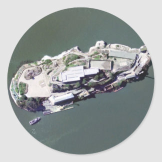 Aerial photograph of Alcatraz Classic Round Sticker