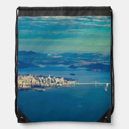 Aerial photograph of the San Francisco Bay Drawstring Bags