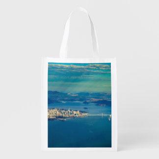 Aerial photograph of the San Francisco Bay Reusable Grocery Bag