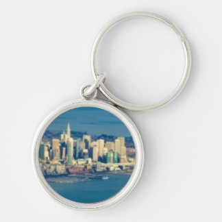 Aerial photograph of the San Francisco Bay Silver-Colored Round Key Ring